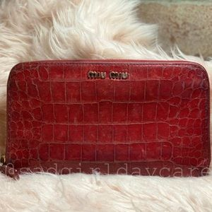 Miu Miu Croc Embossed Leather Zippy Long Wallet